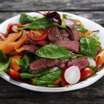 Spicy Beef Slices Meat Salad with vegetables.